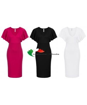 Abiti da donna con maniche a balze abiti rosa nero bianco