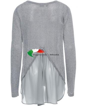 Maglione donna in lurex con maglione grigio argento chiffon
