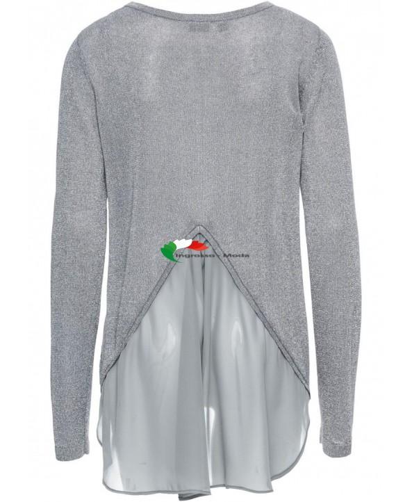 9a44c02ed8 Maglione donna in lurex con maglione grigio argento chiffon