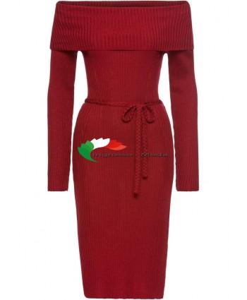 Abito con scollo a barchetta in pizzo rosso da donna