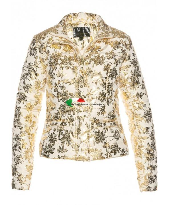 Giacca invernale con giacca trapuntata da donna con stampa